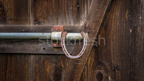 Horseshoe Barn Door Handle, Color Image Stock photo © Backyard-Photography