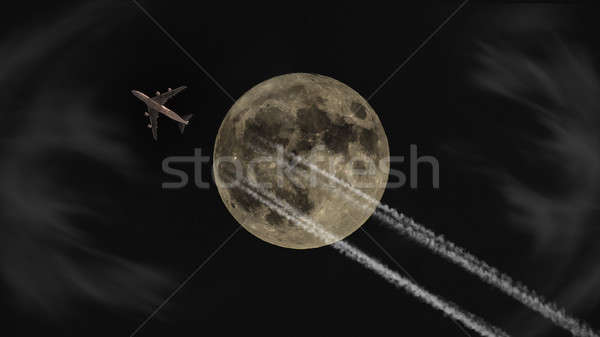 Jet battant pleine lune nuit lune Photo stock © Backyard-Photography