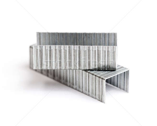Two rows of staples in macro Stock photo © backyardproductions