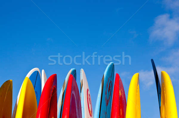 Stack of surfboards by seaside Stock photo © backyardproductions