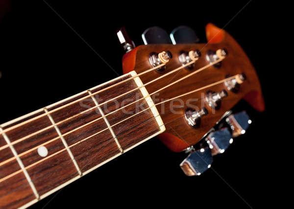 Kilátás lefelé gitár makró lövés akusztikus gitár Stock fotó © backyardproductions
