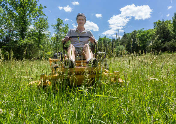 Senior man on zero turn lawnmower in meadow Stock photo © backyardproductions