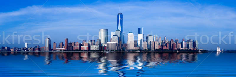 Panorama baixar manhattan crepúsculo New York City troca Foto stock © backyardproductions