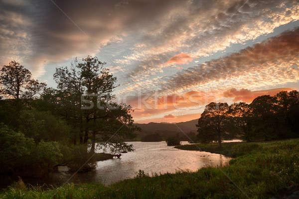 Gün batımı su göller bölgesi güneş bulutlar İngilizce Stok fotoğraf © backyardproductions