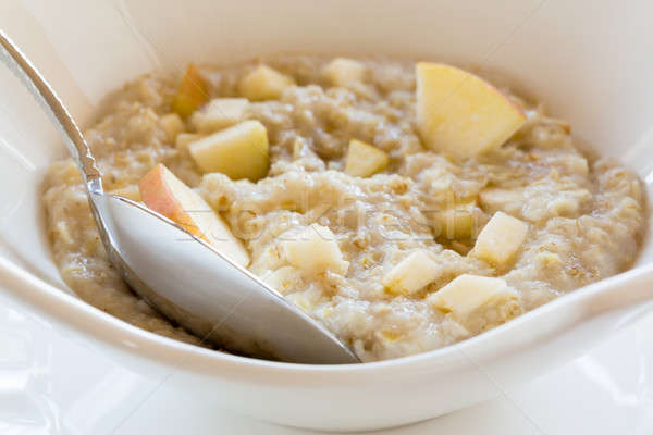 Oatmeal breakfast in modern white bowl Stock photo © backyardproductions