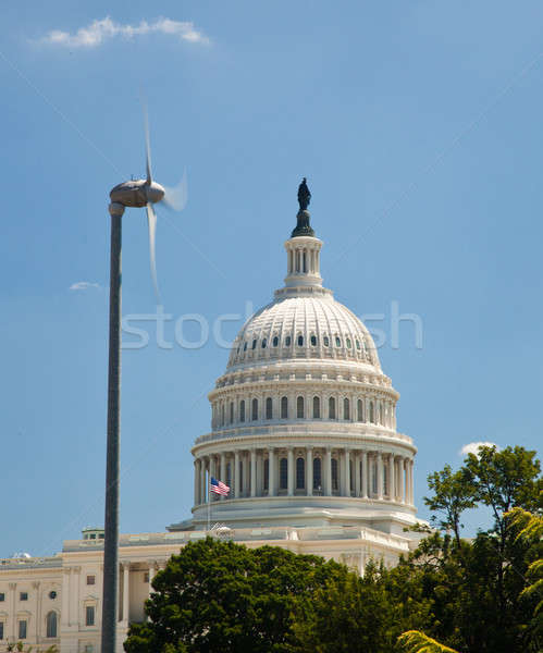 Capitol Building framed by wind turbine Stock photo © backyardproductions