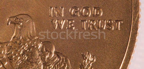 Macro of In God we Trust Stock photo © backyardproductions
