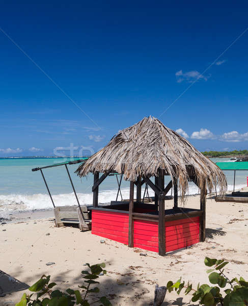 Bar and tables on beach covered in sand Stock photo © backyardproductions