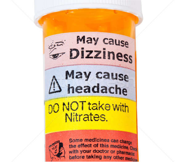 Warning signs on bottle of rx drugs Stock photo © backyardproductions