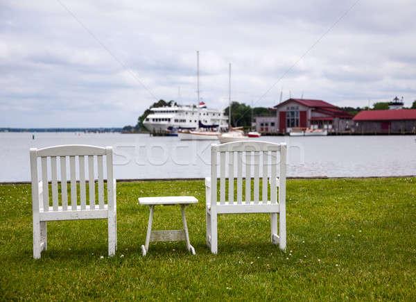 Pair of garden chairs by Chesapeake bay Stock photo © backyardproductions