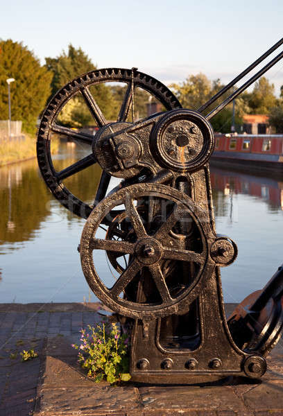 Old winch by canal in Ellesmere Stock photo © backyardproductions