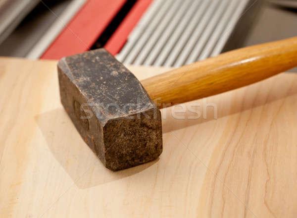Large lump hammer on workbench Stock photo © backyardproductions