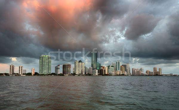 Dawn view of Miami Skyline  Stock photo © backyardproductions