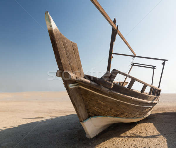 Fishermans boat or dhow on sand Stock photo © backyardproductions