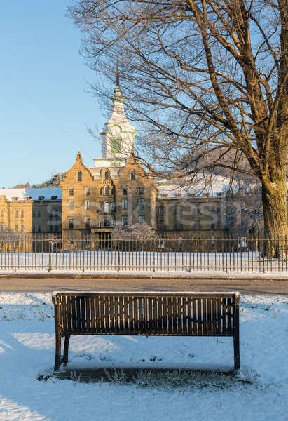 Bench in snow outside Trans-Allegheny Lunatic Asylum Stock photo © backyardproductions