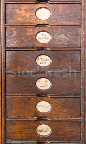 Old wooden filing cabinet with wooden drawers Stock photo © backyardproductions