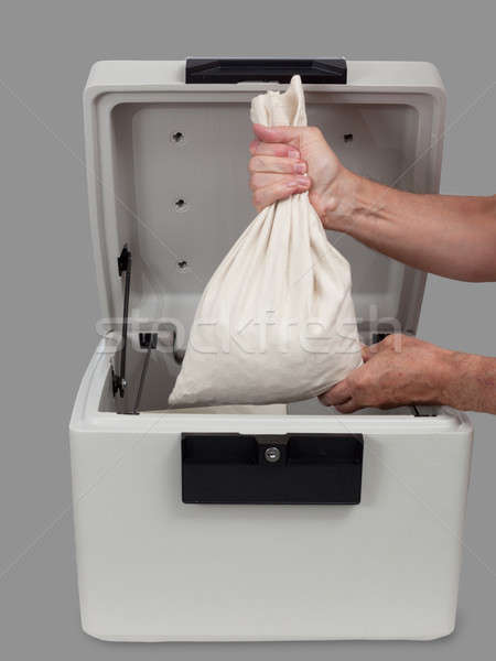 Fireproof safe with large money bag Stock photo © backyardproductions