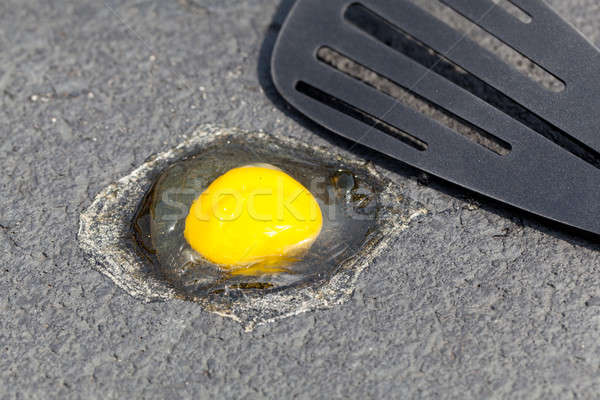 Egg on hot road surface beginning to fry Stock photo © backyardproductions