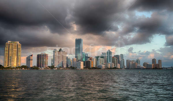 Dawn Miami skyline stadsgezicht zonsopgang Stockfoto © backyardproductions
