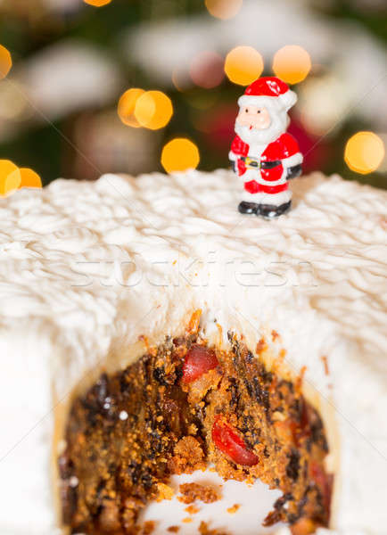 Icing christmas cake boom lichten plakje Stockfoto © backyardproductions
