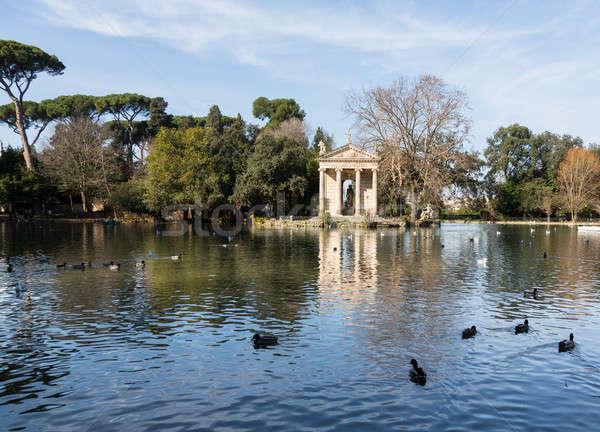 Рим Италия озеро отдыха Villa зима Сток-фото © backyardproductions