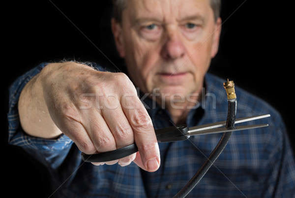 Stock photo: Concept isolated photo of cutting cable cord