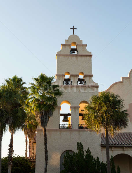 Spanish mission style church tower sunset Stock photo © backyardproductions