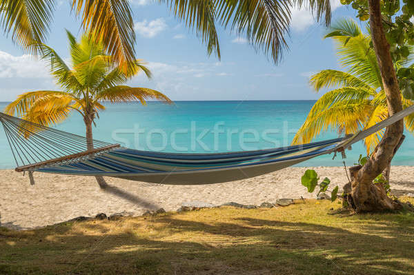 Fabric hammock by turquoise sea Stock photo © backyardproductions