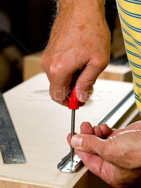 Stolarka narzędzia pracy kawałek sklejka śruby Zdjęcia stock © backyardproductions