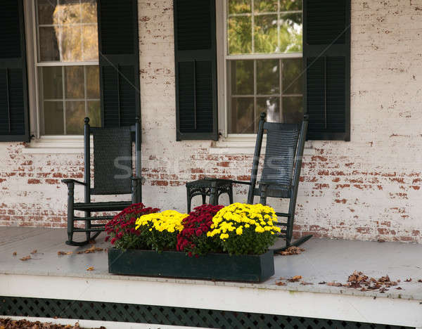 Old rocking chairs on porch Stock photo © backyardproductions