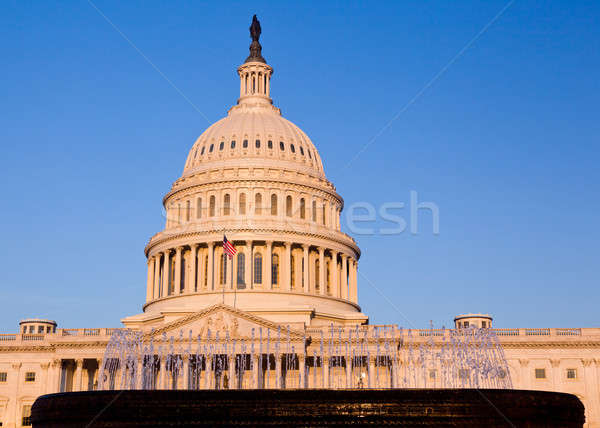 Rising sun illuminates the front of the Capitol building in DC Stock photo © backyardproductions