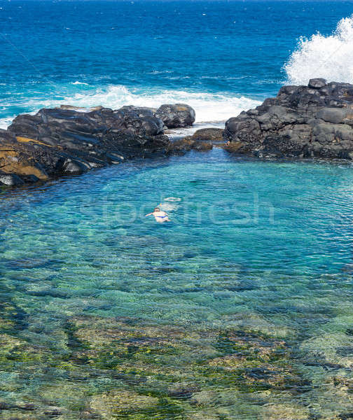 Tourists at Queens Beach Princeville Kauai Stock photo © backyardproductions