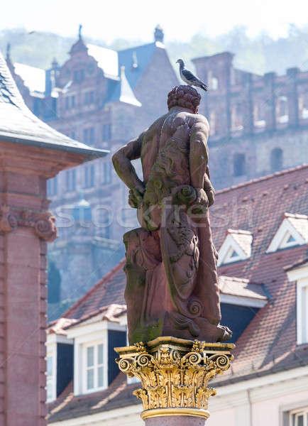 Statue of Hercules in market square Heidelberg Germany Stock photo © backyardproductions