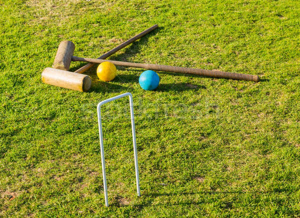 Croquet set on english lawn Stock photo © backyardproductions