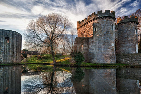 Stockfoto: Kasteel · oude · Engeland · steen · gebouwen