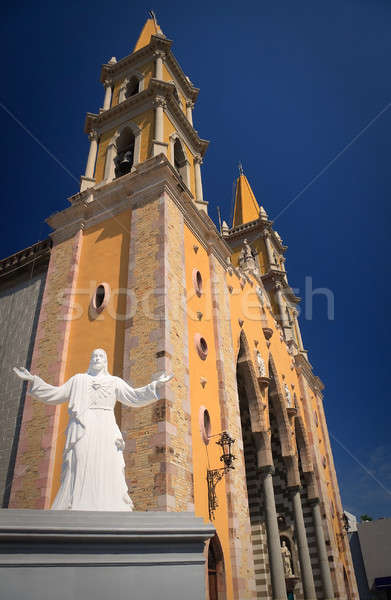 Heykel Mesih kilise beyaz İsa turuncu Stok fotoğraf © backyardproductions