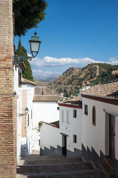 Steep narrow streets in Granada Spain Stock photo © backyardproductions