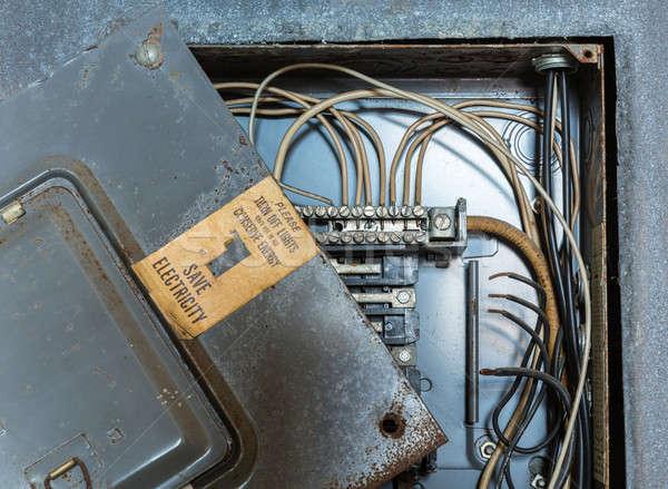 öreg elektomos disztribúció doboz mentés elektromosság Stock fotó © backyardproductions