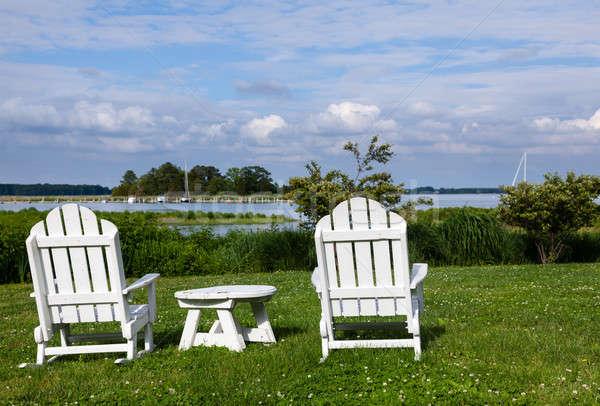 Pár kert székek üres belső udvar oldal Stock fotó © backyardproductions