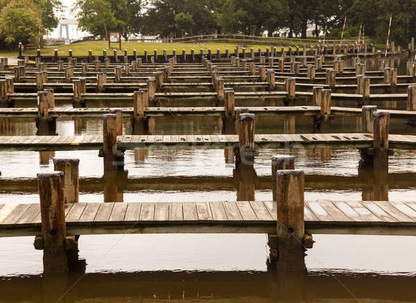 Stock photo: Rows of empty boat dock harbor