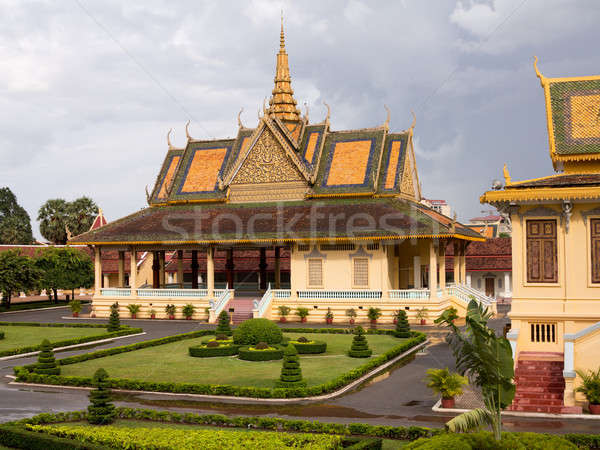 Ornate buildings in Royal Palace Cambodia Stock photo © backyardproductions