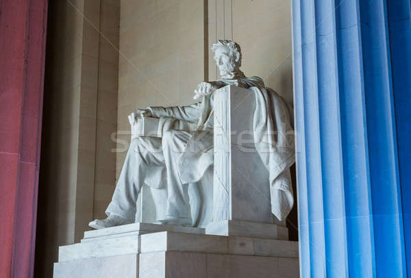 President Lincoln statue with pillars lit Stock photo © backyardproductions