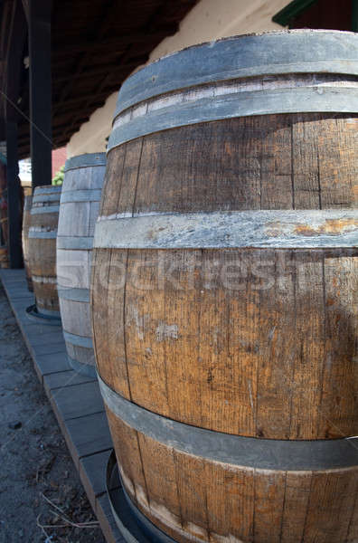 Barrels by old saloon in San Diego Stock photo © backyardproductions