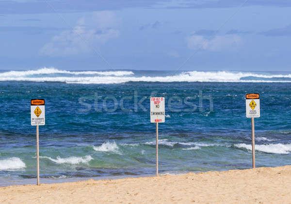 No swimming danger sign Tunnels Beach Stock photo © backyardproductions