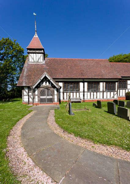 Magnifique église fleurs herbe noir Photo stock © backyardproductions