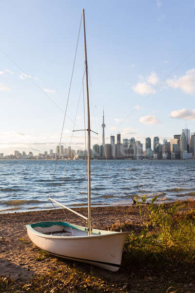 Sailing boat on Toronto Islands with city Stock photo © backyardproductions