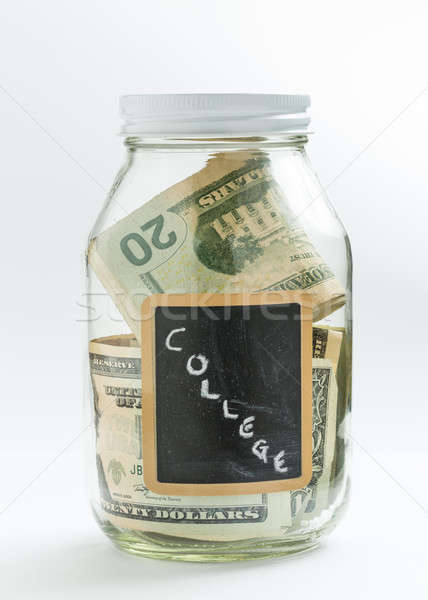Glass Jar with chalk panel used for college expenses Stock photo © backyardproductions