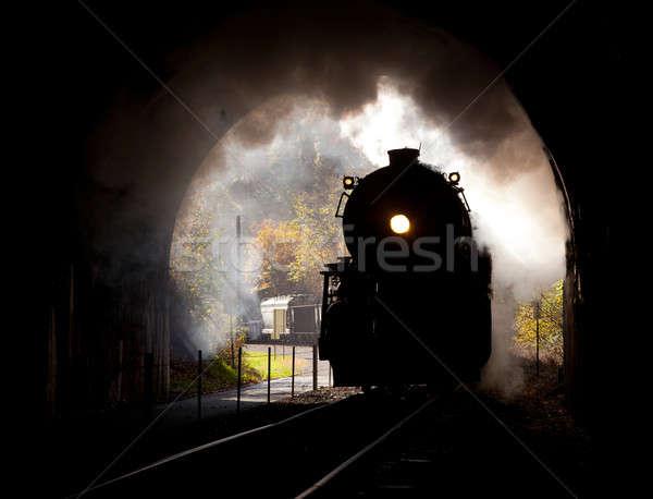 Stoomlocomotief tunnel oude stoom trein Stockfoto © backyardproductions