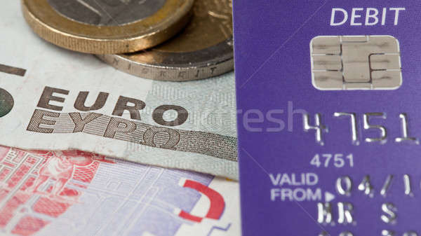 Accent carte de débit euros macro haut note Photo stock © backyardproductions