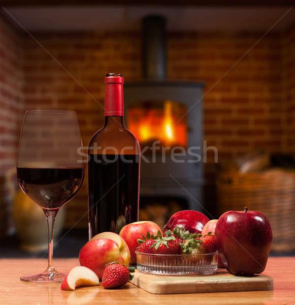 Meyve yanan yangın şişe cam Stok fotoğraf © backyardproductions